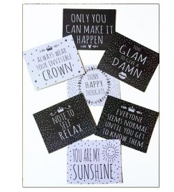 Set of 50 motivational quotes postcards